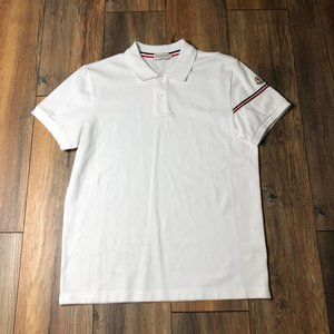 Moncler White Collar Polo Shirt Logo Sleeve